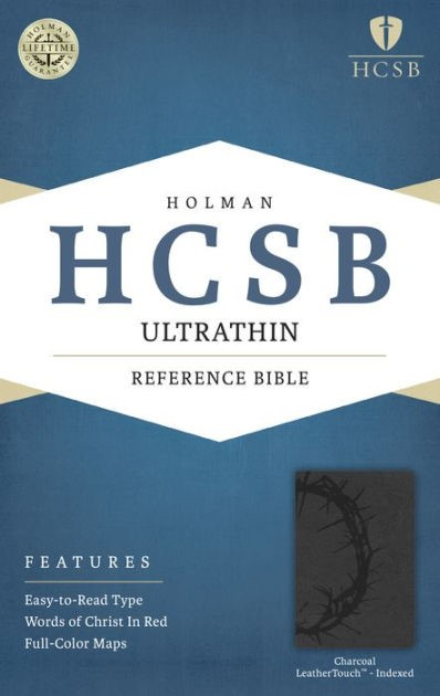 HCSB Ultrathin Reference Bible, Charcoal, Indexed (Imitation Leather)