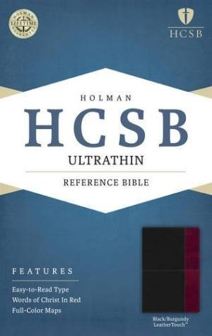 HCSB Ultrathin Reference Bible, Black/Burgundy Leathertouch (Imitation Leather)