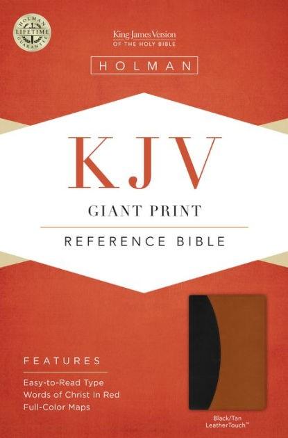 KJV Giant Print Reference Bible, Black/Tan, Indexed (Imitation Leather)