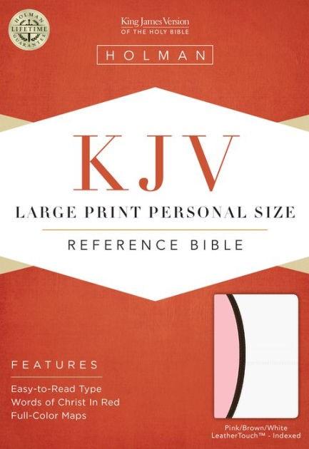KJV Large Print Personal Size Reference Bible, White/Pink (Imitation Leather)