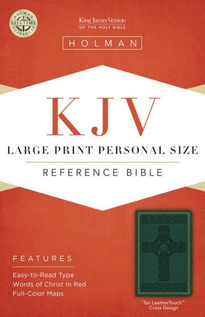 KJV Large Print Personal Size Reference Bible, Green Cross (Imitation Leather)