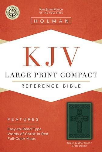 KJV Large Print Compact Reference Bible, Green Cross Design (Imitation Leather)