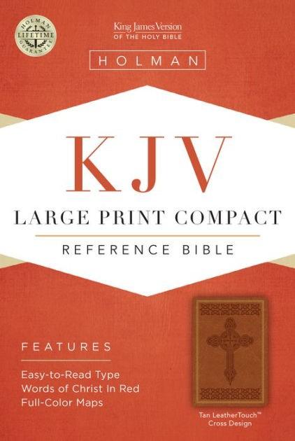 KJV Large Print Compact Reference Bible, Tan Cross Design (Imitation Leather)