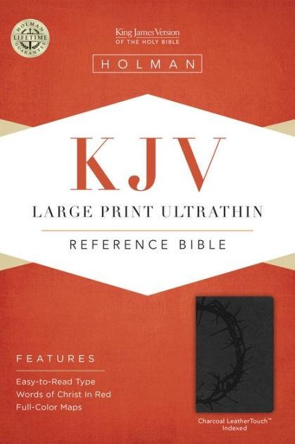 KJV Large Print Ultrathin Reference Bible, Charcoal (Imitation Leather)