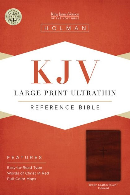 KJV Large Print Ultrathin Reference Bible, Brown, Indexed (Imitation Leather)