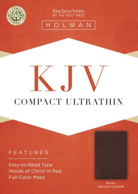 KJV Compact Ultrathin Bible, Brown Genuine Leather (Leather Binding)