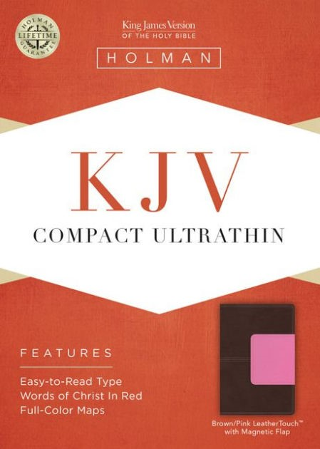 KJV Compact Ultrathin Bible, Brown/Pink Leathertouch With Ma (Imitation Leather)