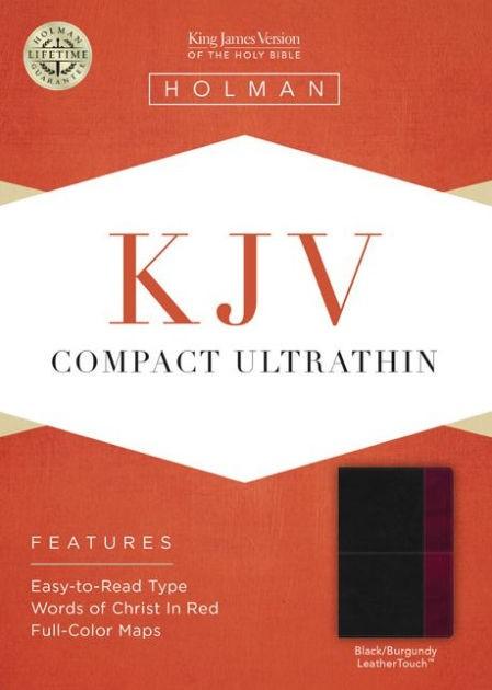 KJV Compact Ultrathin Bible, Black/Burgundy Leathertouch (Imitation Leather)
