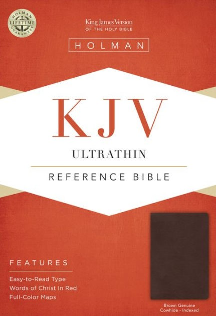 KJV Ultrathin Reference Bible, Brown Genuine Cowhide Indexed (Genuine Leather)
