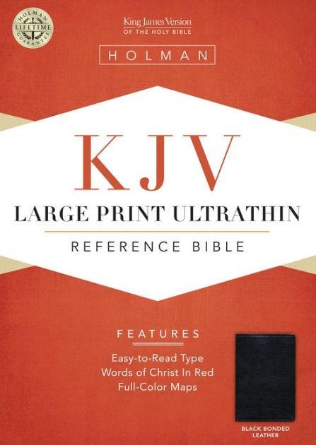 KJV Large Print Ultrathin Reference Bible, Black (Bonded Leather)