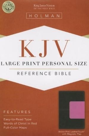 KJV Large Print Personal Size Reference Bible, Brown/Pink (Imitation Leather)