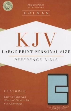 KJV Large Print Personal Size Reference Bible, Brown/Blue (Imitation Leather)