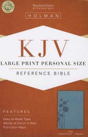 KJV Large Print Personal Size Reference Bible, Teal (Imitation Leather)