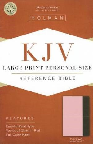 KJV Large Print Personal Size Reference Bible, Pink/Brown (Imitation Leather)