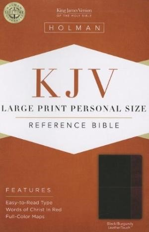 KJV Large Print Personal Size Reference Bible Black/Burgundy (Imitation Leather)