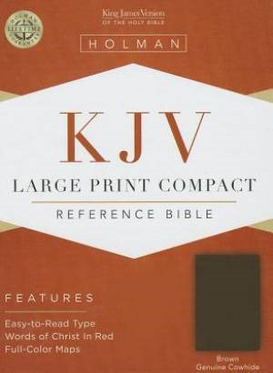 KJV Large Print Compact Reference Bible, Brown Cowhide (Genuine Leather)