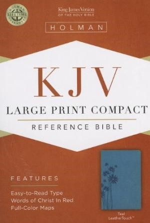 KJV Large Print Compact Reference Bible, Teal Leathertouch (Imitation Leather)