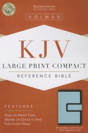KJV Large Print Compact Reference Bible, Brown/Blue (Imitation Leather)