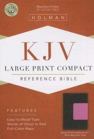 KJV Large Print Compact Reference Bible, Brown/Pink (Imitation Leather)