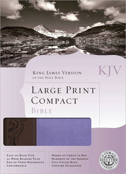 KJV Large Print Compact Bible, Brown/Purple Leathertouch (Imitation Leather)