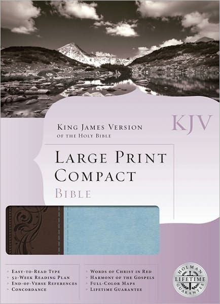 KJV Large Print Compact Bible, Brown/Blue Leathertouch (Imitation Leather)