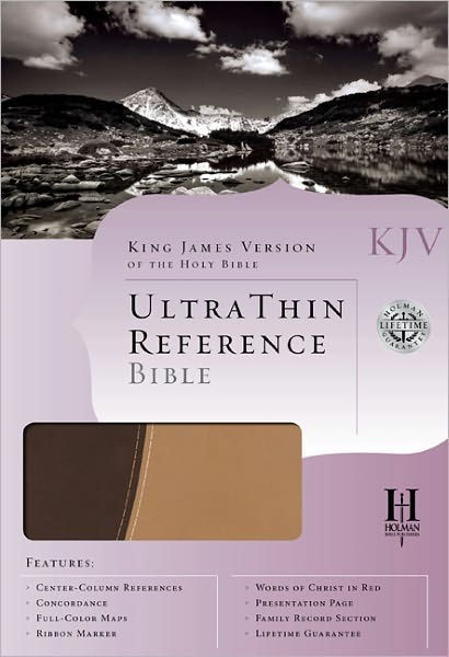 KJV Ultrathin Reference Bible, Brown/Tan Leathertouch (Imitation Leather)