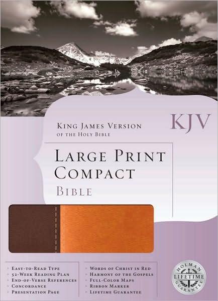 KJV Large Print Compact Bible, Dark Brown/Light Brown (Imitation Leather)