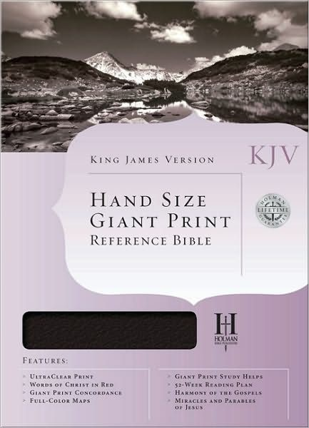 KJV Hand Size Giant Print Reference Bible, Black (Genuine Leather)