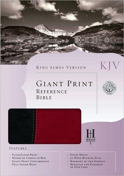 KJV Giant Print Reference Bible, Black/Burgundy (Imitation Leather)