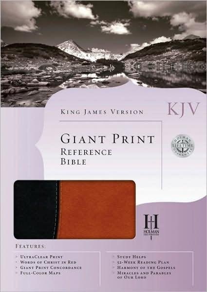 KJV Giant Print Reference Bible, Black/Tan (Imitation Leather)
