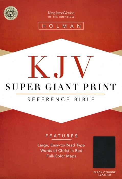 KJV Super Giant Print Reference Bible, Black Leather (Genuine Leather)