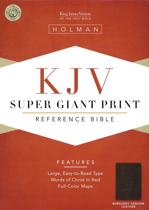 KJV Super Giant Print Reference Bible, Burgundy Leather (Genuine Leather)