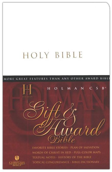 HCSB Gift & Award Bible, White Imitation Leather