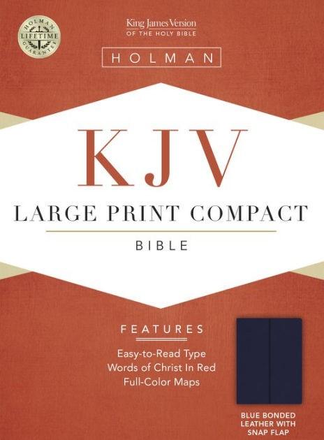 KJV Large Print Compact Bible, Blue, Magnetic Strap (Bonded Leather)