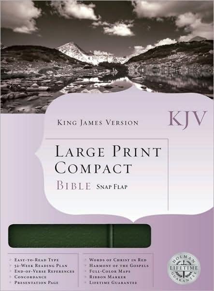 KJV Large Print Compact Bible, Pine Green (Bonded Leather)