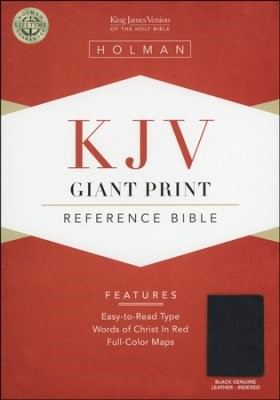 KJV Giant Print Reference Bible Black Leather Indexed (Leather Binding)