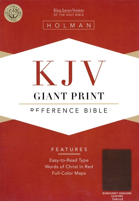 KJV Giant Print Reference Bible Burgundy Leather Indexed (Leather Binding)