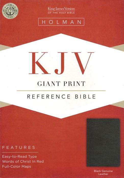 KJV Giant Print Reference Bible Black Leather (Leather Binding)