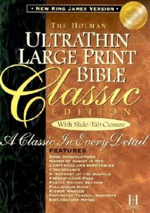 NKJV Large Print Classic Ultrathin Reference Bible, Black (Bonded Leather)