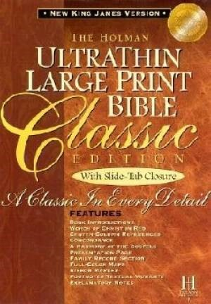 NKJV Large Print Classic Ultrathin Reference Bible, Tan (Bonded Leather)