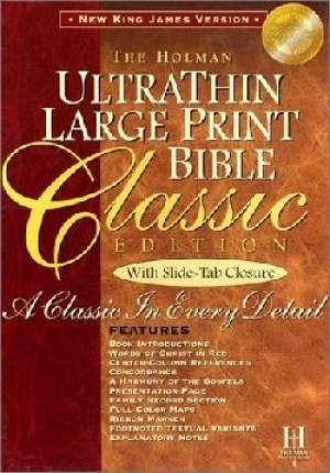 NKJV Large Print Classic Ultrathin Reference Bible, Burgundy (Bonded Leather)