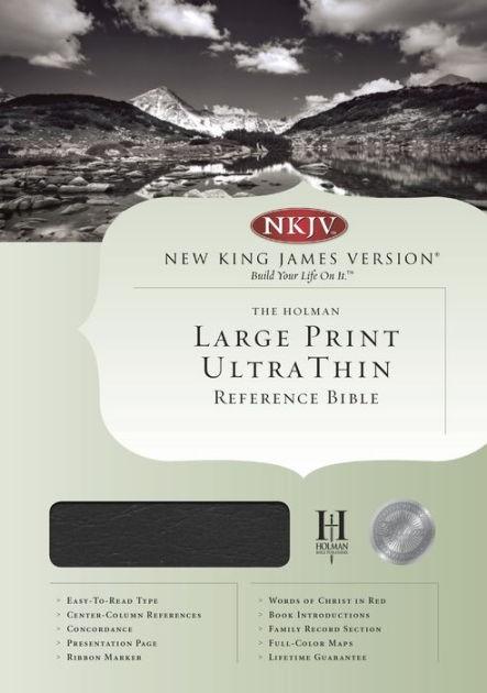 NKJV Large Print Ultrathin Reference Bible, Black (Genuine Leather)