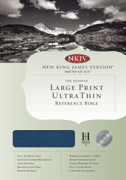 NKJV Large Print Ultrathin Reference Bible, Blue (Bonded Leather)