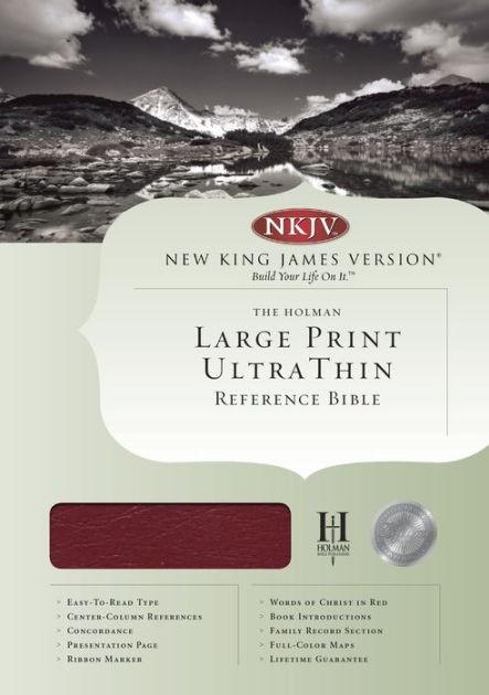 NKJV Large Print Ultrathin Reference Bible, Burgundy (Genuine Leather)