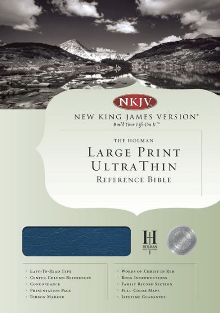 NKJV Large Print Ultrathin Reference Bible, Blue (Bonded Leather)