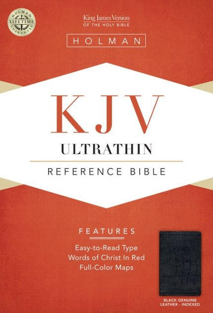 KJV Ultrathin Reference Bible, Black Genuine Leather Indexed (Genuine Leather)