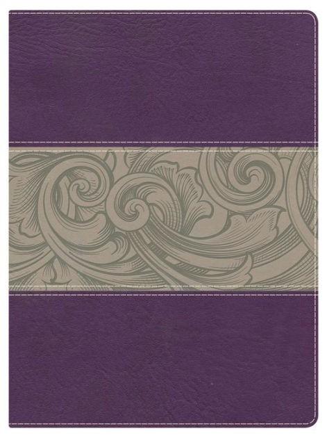 NKJV Holman Full ColourStudy Bible Eggplant/Tan Leathertouch (Imitation Leather)