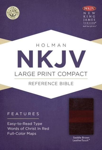 NKJV Large Print Compact Reference Bible, Saddle Brown (Imitation Leather)