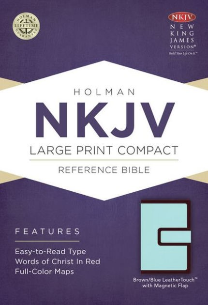 NKJV Large Print Compact Reference Bible, Brown/Blue (Imitation Leather)