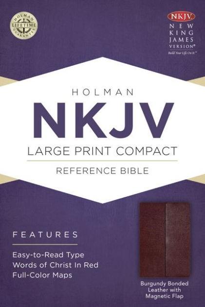 NKJV LP Compact Reference Bible, Burgundy, Magnetic Flap (Bonded Leather)